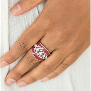 Beautiful Red and Silvertone Ring